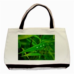 Bamboo Leaf With Drops Twin Sided Black Tote Bag by Siebenhuehner