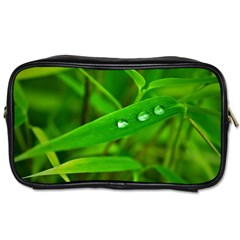 Bamboo Leaf With Drops Travel Toiletry Bag (two Sides) by Siebenhuehner