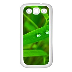 Bamboo Leaf With Drops Samsung Galaxy S3 Back Case (white) by Siebenhuehner