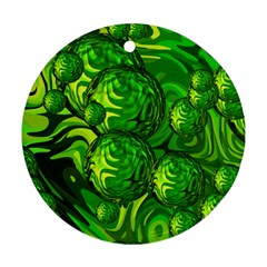 Green Balls  Round Ornament by Siebenhuehner