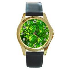 Green Balls  Round Metal Watch (gold Rim)  by Siebenhuehner