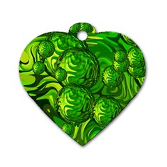 Green Balls  Dog Tag Heart (two Sided) by Siebenhuehner