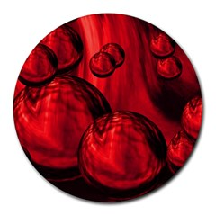 Red Bubbles 8  Mouse Pad (round) by Siebenhuehner