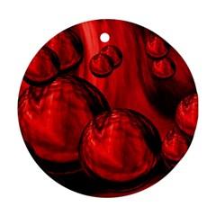 Red Bubbles Round Ornament by Siebenhuehner