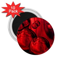 Red Bubbles 2 25  Button Magnet (10 Pack) by Siebenhuehner