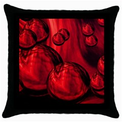 Red Bubbles Black Throw Pillow Case by Siebenhuehner