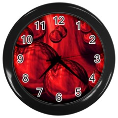 Red Bubbles Wall Clock (black) by Siebenhuehner