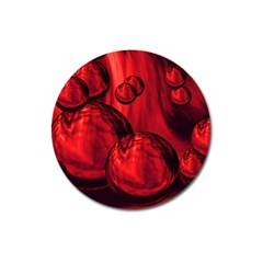 Red Bubbles Magnet 3  (round) by Siebenhuehner