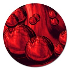 Red Bubbles Magnet 5  (round) by Siebenhuehner
