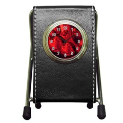 Red Bubbles Stationery Holder Clock by Siebenhuehner