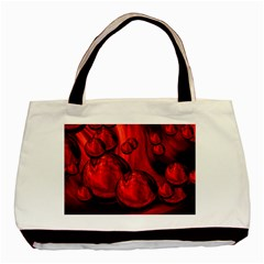 Red Bubbles Twin Sided Black Tote Bag by Siebenhuehner