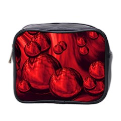 Red Bubbles Mini Travel Toiletry Bag (two Sides) by Siebenhuehner