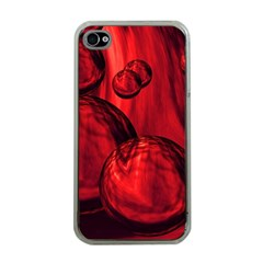 Red Bubbles Apple Iphone 4 Case (clear) by Siebenhuehner