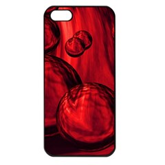 Red Bubbles Apple Iphone 5 Seamless Case (black) by Siebenhuehner