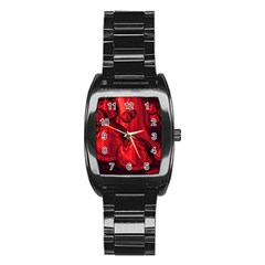 Red Bubbles Men s Stainless Steel Barrel Analog Watch by Siebenhuehner