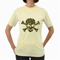 Camo Skull  Womens  T-shirt (Yellow) by Contest1732250