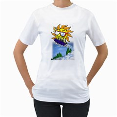 Snowboardin  sun Womens  T-shirt (White) by Contest1732250