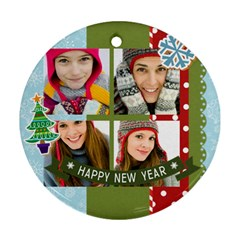 Merry Christmas By Merry Christmas   Round Ornament (two Sides)   Gnjstqcxdnva   Www Artscow Com Back