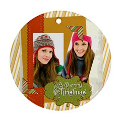 Merry Christmas By Merry Christmas   Round Ornament (two Sides)   1o4n3kq7gx6s   Www Artscow Com Front