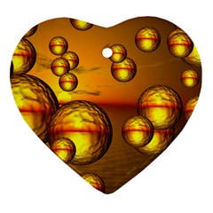 Sunset Bubbles Heart Ornament by Siebenhuehner