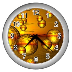Sunset Bubbles Wall Clock (silver) by Siebenhuehner
