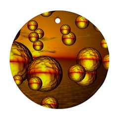 Sunset Bubbles Round Ornament (two Sides) by Siebenhuehner