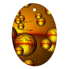 Sunset Bubbles Oval Ornament (two Sides) by Siebenhuehner