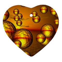Sunset Bubbles Heart Ornament (two Sides) by Siebenhuehner