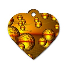 Sunset Bubbles Dog Tag Heart (two Sided) by Siebenhuehner