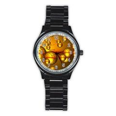 Sunset Bubbles Sport Metal Watch (black) by Siebenhuehner