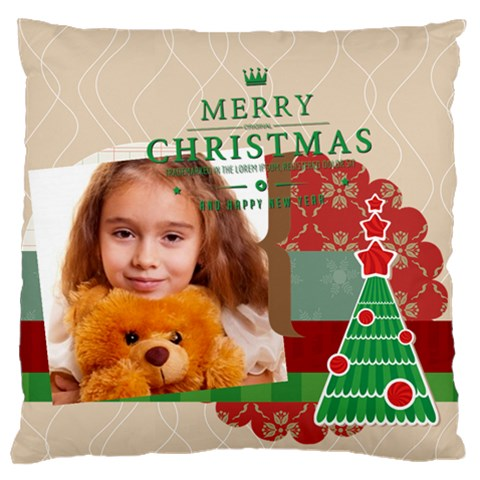 Merry Christmas By Joely   Large Cushion Case (one Side)   Zpalwoun8vyu   Www Artscow Com Front