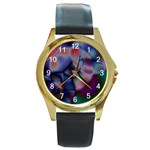 Multi-colour Round Metal Watch (Gold Rim)  Front