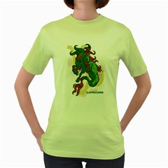 Capricorn Womens  T Shirt (green) by DesignsbyReg2