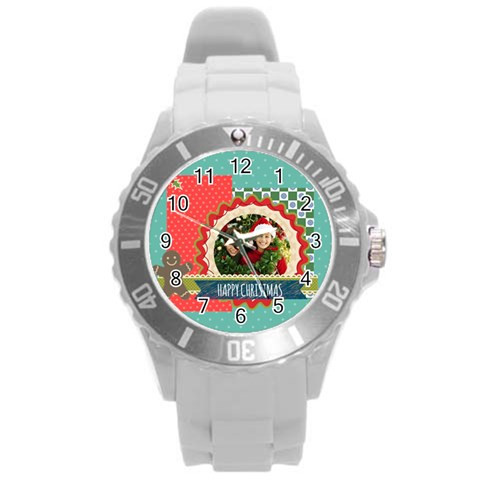 Xmas By Merry Christmas   Round Plastic Sport Watch (l)   Nucylq25nlbp   Www Artscow Com Front