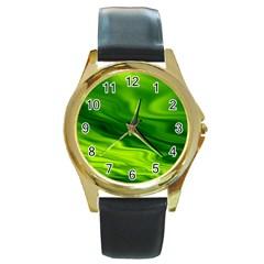 Green Round Metal Watch (gold Rim)  by Siebenhuehner