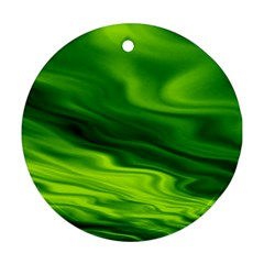 Green Round Ornament (two Sides) by Siebenhuehner
