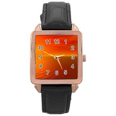 Sunset Rose Gold Leather Watch  by Siebenhuehner