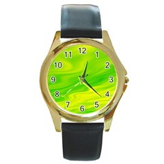 Green Round Metal Watch (gold Rim)  by Siebenhuehner