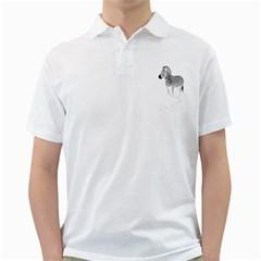 Zebra Mens  Polo Shirt (White)