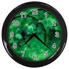 Green Bubbles Wall Clock (black) by Siebenhuehner