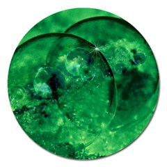 Green Bubbles Magnet 5  (round) by Siebenhuehner