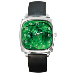 Green Bubbles Square Leather Watch by Siebenhuehner