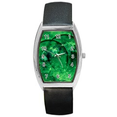Green Bubbles Tonneau Leather Watch by Siebenhuehner