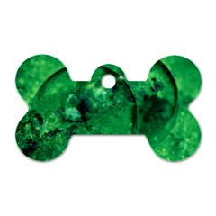 Green Bubbles Dog Tag Bone (one Sided)