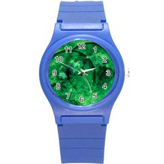 Green Bubbles Plastic Sport Watch (small) by Siebenhuehner