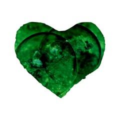 Green Bubbles 16  Premium Heart Shape Cushion  by Siebenhuehner