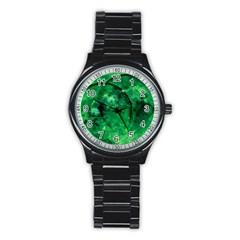 Green Bubbles Sport Metal Watch (black) by Siebenhuehner