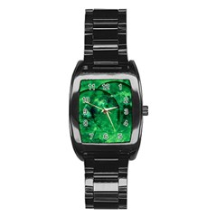 Green Bubbles Men s Stainless Steel Barrel Analog Watch by Siebenhuehner