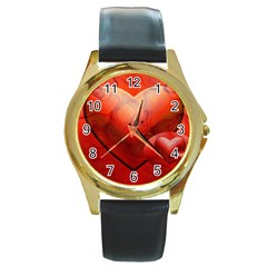 Love Round Metal Watch (gold Rim)  by Siebenhuehner