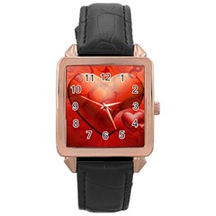 Love Rose Gold Leather Watch  by Siebenhuehner
